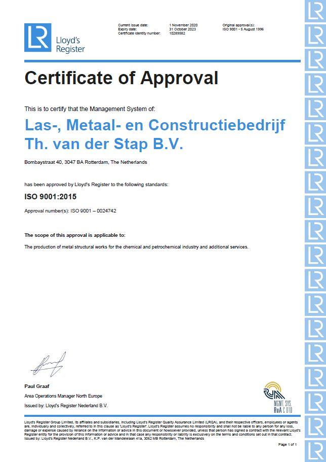 ISO 9001:2015 gecertificeerd metaalbedrijf
