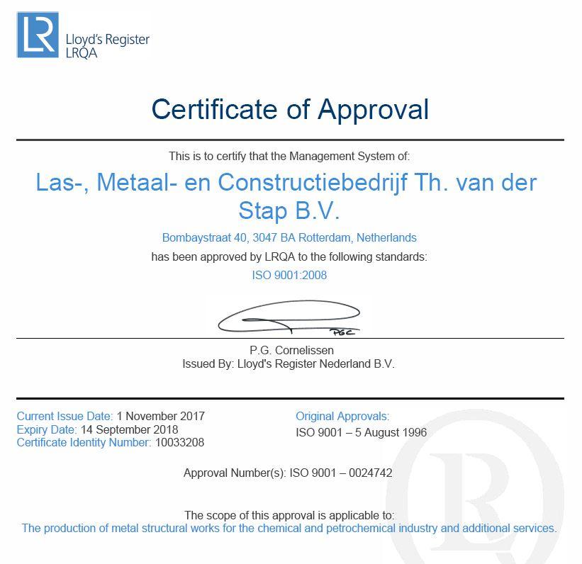 ISO 9001:2008 gecertificeerd metaalbedrijf